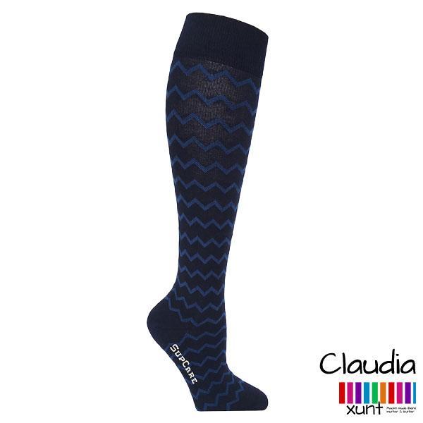 Schwarze Stützstrümpfe mit blauem Zickzack-Muster, Baumwolle, im xunt Onlineshop