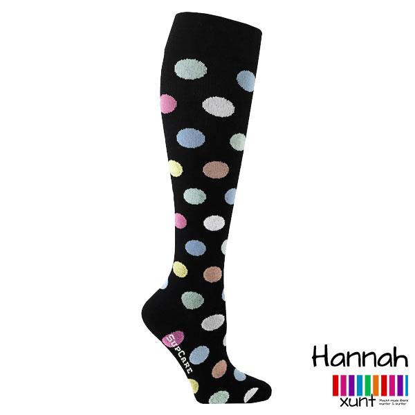 Schwarze Stützstrümpfe mit großen bunten Dots, Baumwolle, im xunt Onlineshop