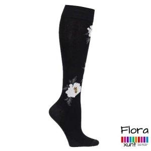Schwarze Stützstrümpfe mit weißen Blumen, Baumwolle, im xunt Onlineshop