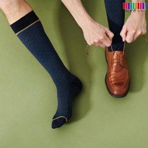 Dunkelblauer Stützstrumpf mit Muster, Wolle, im xunt Onlineshop