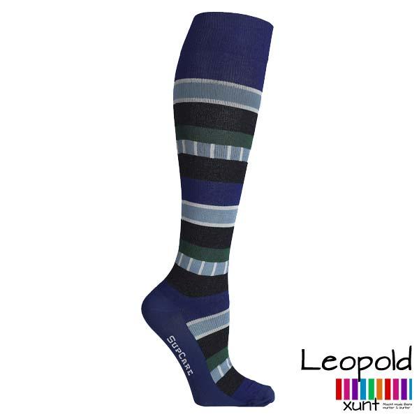 Kompressionsstrumpf Leopold, Indie-Streifen blau / grün