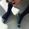 Schwarze Stützstrümpfe mit Rauten-Muster, Wolle, im xunt Onlineshop