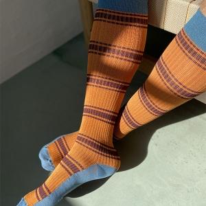 Stützstrumpf Mia Bambusfasern, Rib Weave blau/orange