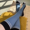 Stützstrumpf Willhelm Wolle und Baumwolle, blau / Gitter