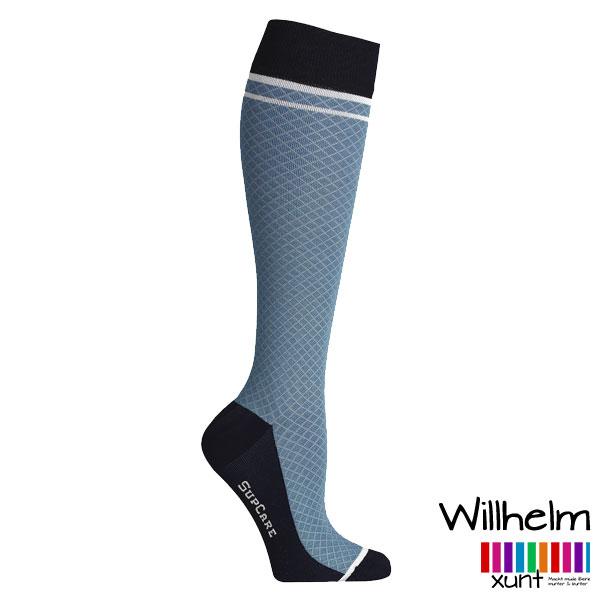 Hellblaue Stützstrümpfe mit Rauten-Muster, Wolle, im xunt Onlineshop